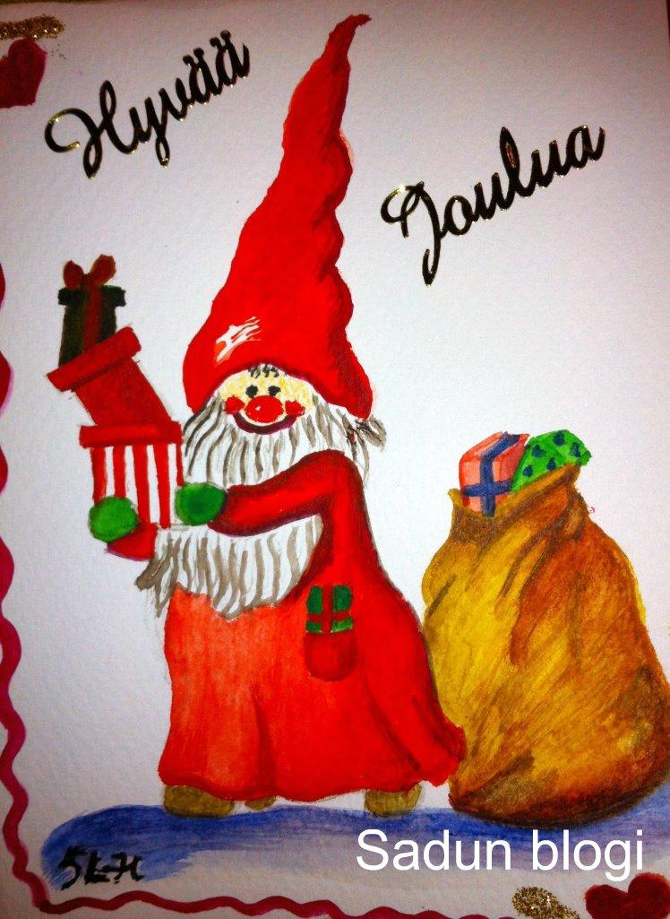 Joulukorttien maalaus jatkuu… – Painting Christmas cards continues…