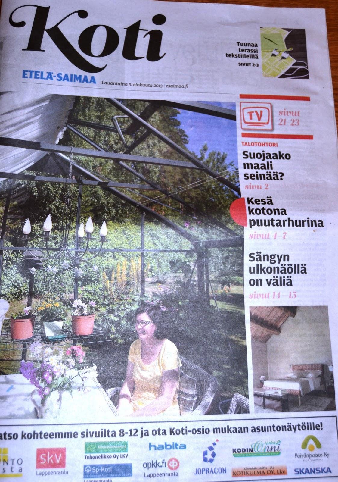 Juttu Etelä-Saimaassa 3.8.2013 – Newspaper article